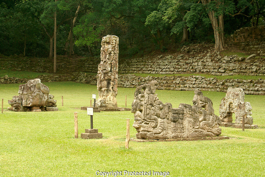 Stela and altars in the Sculpture Garden at the Mayan ruins of Copan, Honduras. Copan is a UNESCO World Heritage Site.
