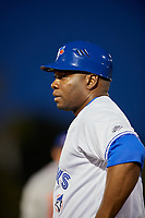 Dunedin Blue Jays coach Michel Abreu (46) during a game against the St. Lucie Mets on April 19, 2017 at Florida Auto Exchange Stadium in Dunedin, Florida.  Dunedin defeated St. Lucie 9-1.  (Mike Janes/Four Seam Images)