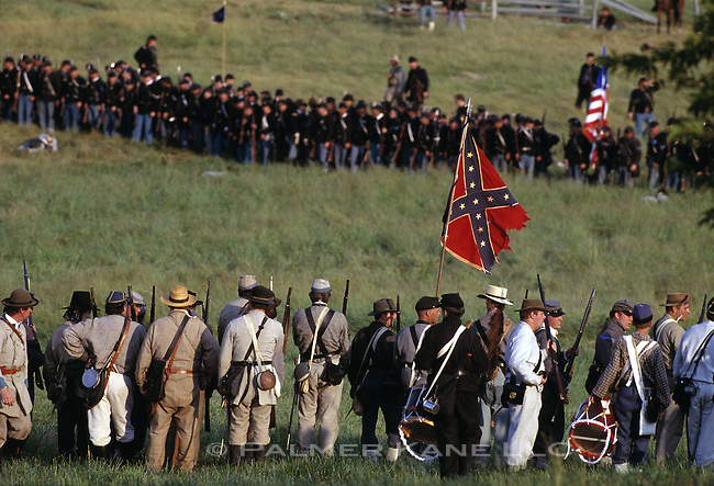 Battle lines of a civil war reenactment. July 4th Gettysburg. PA. USA