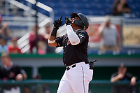 Batavia Muckdogs Albert Guaimaro (13) points to the sky after hitting a home run during a NY-Penn League game against the Williamsport Crosscutters on August 27, 2019 at Dwyer Stadium in Batavia, New York.  Williamsport defeated Batavia 11-4.  (Mike Janes/Four Seam Images)