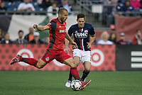 Foxborough, Massachusetts - June 3, 2017: In a Major League Soccer (MLS) match, the New England Revolution (blue/white) defeated Toronto FC (red), 3-0, at Gillette Stadium.