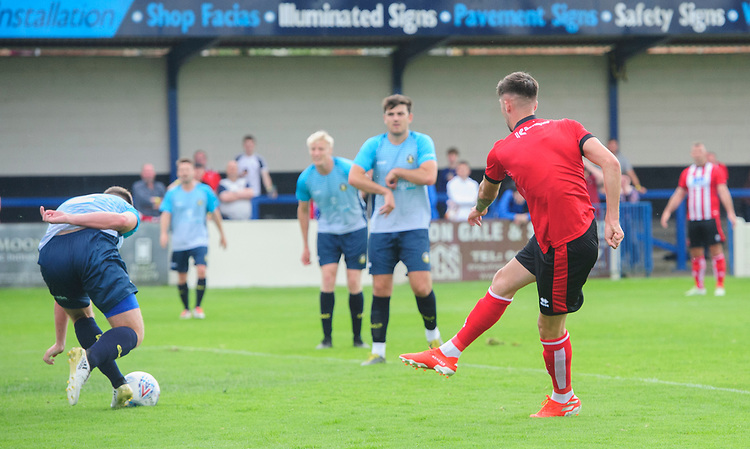 Lincoln City's Ellis Chapman scores the opening goal<br /> <br /> Photographer Chris Vaughan/CameraSport<br /> <br /> Football Pre-Season Friendly (Community Festival of Lincolnshire) - Gainsborough Trinity v Lincoln City - Saturday 6th July 2019 - The Martin & Co Arena - Gainsborough<br /> <br /> World Copyright © 2018 CameraSport. All rights reserved. 43 Linden Ave. Countesthorpe. Leicester. England. LE8 5PG - Tel: +44 (0) 116 277 4147 - admin@camerasport.com - www.camerasport.com