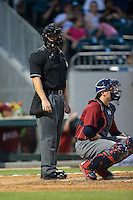 Home plate umpire Chris Segal looks towards the Charlotte Knights dugout during the game against the Lehigh Valley Iron Pigs at BB&T BallPark on June 3, 2016 in Charlotte, North Carolina.  The Iron Pigs defeated the Knights 6-4.  (Brian Westerholt/Four Seam Images)