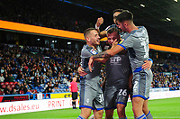 Lincoln City's Harry Anderson, front centre, celebrates scoring the opening goal with team-mates, from left, Jack Payne, Bruno Andrade and Ellis Chapman<br /> <br /> Photographer Chris Vaughan/CameraSport<br /> <br /> The Carabao Cup First Round - Huddersfield Town v Lincoln City - Tuesday 13th August 2019 - John Smith's Stadium - Huddersfield<br />  <br /> World Copyright © 2019 CameraSport. All rights reserved. 43 Linden Ave. Countesthorpe. Leicester. England. LE8 5PG - Tel: +44 (0) 116 277 4147 - admin@camerasport.com - www.camerasport.com