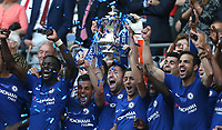 Chelsea's Gary Cahill lifts the trophy<br /> <br /> Photographer Rob Newell/CameraSport<br /> <br /> Emirates FA Cup Final - Chelsea v Manchester United - Saturday 19th May 2018 - Wembley Stadium - London<br />  <br /> World Copyright &copy; 2018 CameraSport. All rights reserved. 43 Linden Ave. Countesthorpe. Leicester. England. LE8 5PG - Tel: +44 (0) 116 277 4147 - admin@camerasport.com - www.camerasport.com