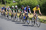 Climbing Piggery Hill on the 2nd lap during the Irish National Men's Elite Road Race Championships held over an undulating course featuring 9 laps centered in the village of Multyfarnham, Co.Westmeath, Ireland. 29th June 2014.<br /> Picture: Eoin Clarke www.newsfile.ie