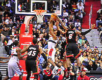 Nick Young of the Wizards has his shot blocked by Lebron James of the Heat. Miami defeated Washington 106-89 at the Verizon Center in Washington, D.C. on Friday, February 10, 2012. Alan P. Santos/DC Sports Box