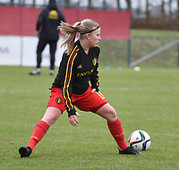 20190206 - TUBIZE , BELGIUM : Belgian Cato Dellaert  pictured during the friendly female soccer match between Women under 17 teams of  Belgium and The Netherlands , in Tubize , Belgium . Wednesday 6th February 2019 . PHOTO SPORTPIX.BE DIRK VUYLSTEKE