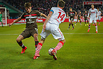 08.02.2019, RheinEnergieStadion, Koeln, GER, 2. FBL, 1.FC Koeln vs. FC St. Pauli,<br />  <br /> DFL regulations prohibit any use of photographs as image sequences and/or quasi-video<br /> <br /> im Bild / picture shows: <br /> Jonas Hector (FC Koeln #14),  im Zweikampf gegen  Luca Zander (St Pauli #19), <br /> <br /> Foto © nordphoto / Meuter