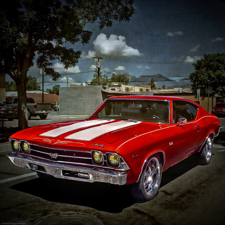 Red classic muscle car in USA