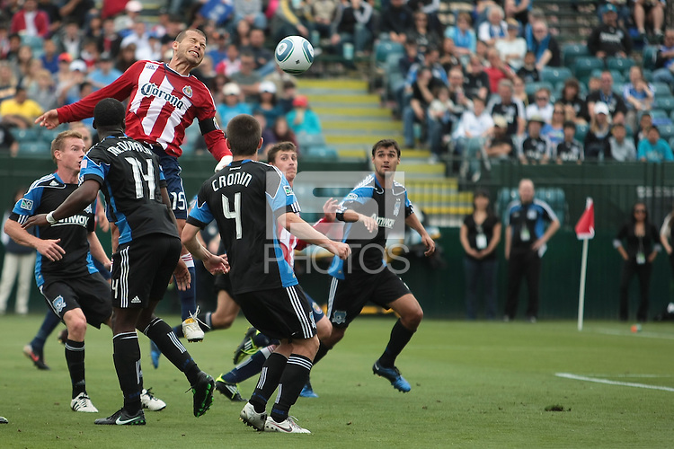 Alejandro Moreno heads the ball for the goal. Chivas USA defeated the San Jose Earthquakes 2-1 at Buck Shaw Stadium in Santa Clara, California on April 23rd, 2011.
