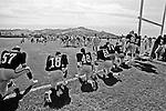 Oakland Raiders training camp August 10, 1982 at El Rancho Tropicana, Santa Rosa, California.   Raiders scrimmage in late afternoon sun.