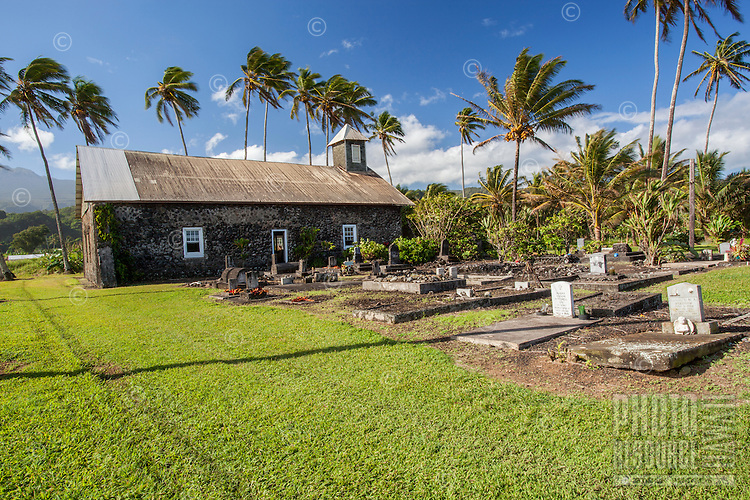 Ke'anae Congregational Church and cemetery, built in 1860, Ke'anae Peninsula, on the way to Hana, Maui.
