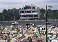 Infield crowd watches the action Southern 500 Darlington Raceway, Darlington SC, September 5, 1977.(Photo by Brian Cleary/www.bcpix.com)