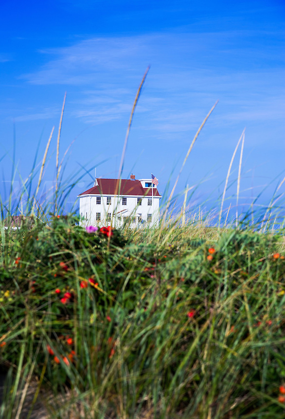 Beach house with dune grass, Cape Cod, Massachusetts,, USA