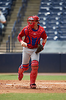 Clearwater Threshers catcher Henri Lartigue (4) during a game against the Tampa Tarpons on April 22, 2018 at George M. Steinbrenner Field in Tampa, Florida.  Clearwater defeated Tampa 2-1 (Mike Janes/Four Seam Images)