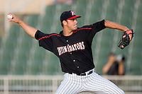 Starting pitcher Matthew Hopps #37 of the Kannapolis Intimidators in action against the Greenville Drive at Fieldcrest Cannon Stadium June 3, 2010, in Kannapolis, North Carolina.  Photo by Brian Westerholt / Four Seam Images