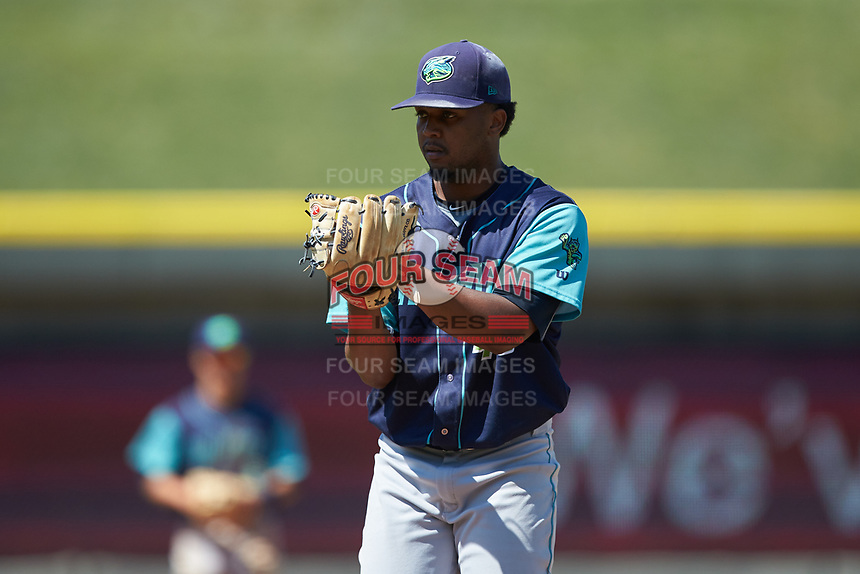 Lynchburg Hillcats starting pitcher Juan Hillman (46) looks to his catcher for the sign against the Winston-Salem Rayados at BB&T Ballpark on June 23, 2019 in Winston-Salem, North Carolina. The Hillcats defeated the Rayados 12-9 in 11 innings. (Brian Westerholt/Four Seam Images)
