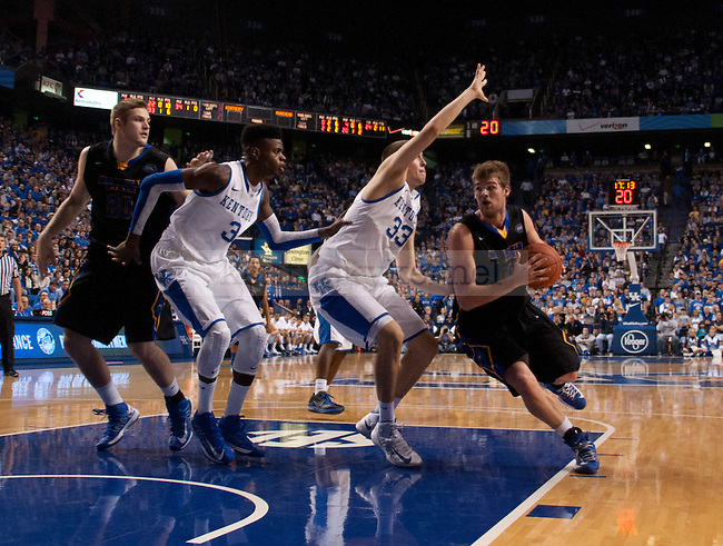 Sophomore forward Kyle Wiltjer guards Morehead State junior Drew Kelly during the second half of the UK Men's Basketball game against Morehead State at Rupp Arena in Lexington, Ky., on Wednesday, November. 21, 2012..