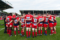 The Worcester Warriors team huddle together after the match. Aviva Premiership match, between Harlequins and Worcester Warriors on October 28, 2017 at the Twickenham Stoop in London, England. Photo by: Patrick Khachfe / JMP