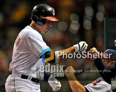 12 September 2008: Cleveland Indians' infielder Asdrubal Cabrera returns to the dugout during a game against the Kansas City Royals at Progressive Field in Cleveland, Ohio. The Indians defeated the Royals 12-5 in the first game of their 4-game series...Mandatory Photo Credit: Ed Wolfstein Photo