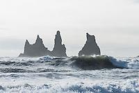 The &quot;Black Beach&quot; at Vik. In front of the beach are three black Dykes named &quot;Skessudrangur&quot;, &quot;Landdrangur&quot; und &quot;Langsamur&quot;. Old legends told that they are petrified trolls.<br /> Der &quot;Schwarze Strand&quot; bei Vik. Vor der Kueste befinden sich drei schwarze Felsnadeln (Dykes), die Reynisdrangar: &quot;Skessudrangur&quot;, &quot;Landdrangur&quot; und &quot;Langsamur&quot;. Der Legende nach sollen es drei versteinerte Trolle sein. Der Strand gilt als der schoenste auf Island.<br /> 19.3.2016, Vik<br /> Copyright: Christian-Ditsch.de<br /> [Inhaltsveraendernde Manipulation des Fotos nur nach ausdruecklicher Genehmigung des Fotografen. Vereinbarungen ueber Abtretung von Persoenlichkeitsrechten/Model Release der abgebildeten Person/Personen liegen nicht vor. NO MODEL RELEASE! Nur fuer Redaktionelle Zwecke. Don't publish without copyright Christian-Ditsch.de, Veroeffentlichung nur mit Fotografennennung, sowie gegen Honorar, MwSt. und Beleg. Konto: I N G - D i B a, IBAN DE58500105175400192269, BIC INGDDEFFXXX, Kontakt: post@christian-ditsch.de<br /> Bei der Bearbeitung der Dateiinformationen darf die Urheberkennzeichnung in den EXIF- und  IPTC-Daten nicht entfernt werden, diese sind in digitalen Medien nach &sect;95c UrhG rechtlich geschuetzt. Der Urhebervermerk wird gemaess &sect;13 UrhG verlangt.]
