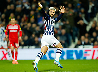 29th December 2019; The Hawthorns, West Bromwich, West Midlands, England; English Championship Football, West Bromwich Albion versus Middlesbrough; Charlie Austin of West Bromwich Albion prematurely celebrates a shot going in - Strictly Editorial Use Only. No use with unauthorized audio, video, data, fixture lists, club/league logos or 'live' services. Online in-match use limited to 120 images, no video emulation. No use in betting, games or single club/league/player publications