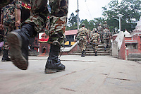 Rescue workers move for rescue operation in Kathmandu, Nepal