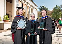 From left, chemistry professor Eileen Spain, recipient of the Graham L. Sterling Memorial Award and  biology professor Gretchen North and Spanish and French studies professor Felisa Guillén, recipients of the Tod and Linda White Teaching Prize.<br />
