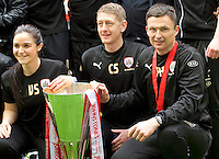 Caretaker Head Coach Paul Heckingbottom of Barnsley (right) with the trophy after winning the Johnstone's Paint Trophy Final match between Oxford United and Barnsley at Wembley Stadium, London, England on 3 April 2016. Photo by Alan  Stanford / PRiME Media Images.