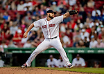 22 June 2019: Boston Red Sox pitcher Josh Smith on the mound in the 9th inning against the Toronto Blue Jays at Fenway :Park in Boston, MA. The Blue Jays rallied to defeat the Red Sox 8-7 in the 2nd game of their 3-game series. Mandatory Credit: Ed Wolfstein Photo *** RAW (NEF) Image File Available ***