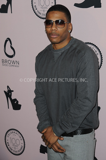 WWW.ACEPIXS.COM<br /> April 23, 2014 New York City<br /> <br /> Nelly attending the Brown Shoe Company celebration of 100 Years on the New York Stock Exchange at 4 World Trade Center in New York City on April 23, 2014.<br /> <br /> By Line: Kristin Callahan/ACE Pictures<br /> ACE Pictures, Inc.<br /> tel: 646 769 0430<br /> Email: info@acepixs.com<br /> www.acepixs.com
