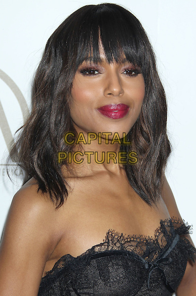 Kerry Washington.At the 24th Annual Producers Guild Awards held at the Beverly Hilton Hotel, Beverly Hills, California, USA,.26th January 2013..PGAs PGA arrivals portrait headshot fringe beauty pink lipstick make-up black   strapless eyelash lace trim.CAP/ADM/RE.©Russ Elliot/AdMedia/Capital Pictures.