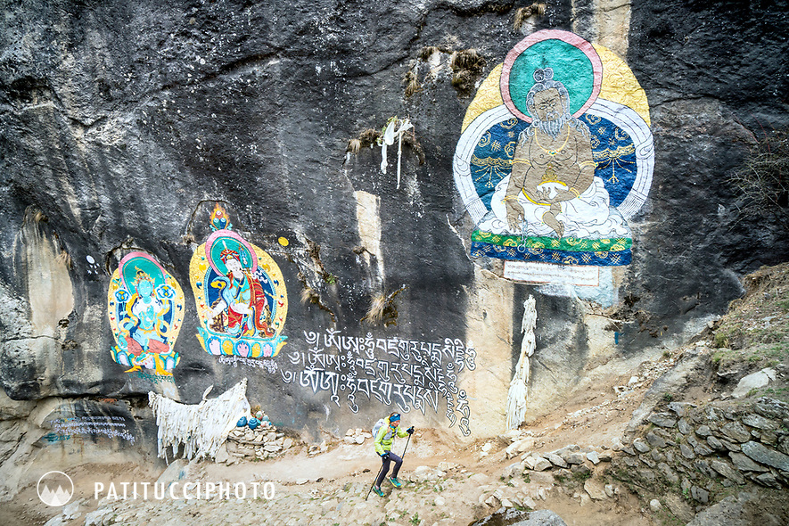 Passing a Buddhist sacred site on the way to Namche Bazar towards the end of running the 3 Passes tour. Nepal.
