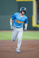 Ian Happ (5) of the Myrtle Beach Pelicans rounds the bases after hitting a home run against the Winston-Salem Dash at BB&T Ballpark on April 18, 2016 in Winston-Salem, North Carolina.  The Pelicans defeated the Dash 6-4.  (Brian Westerholt/Four Seam Images)