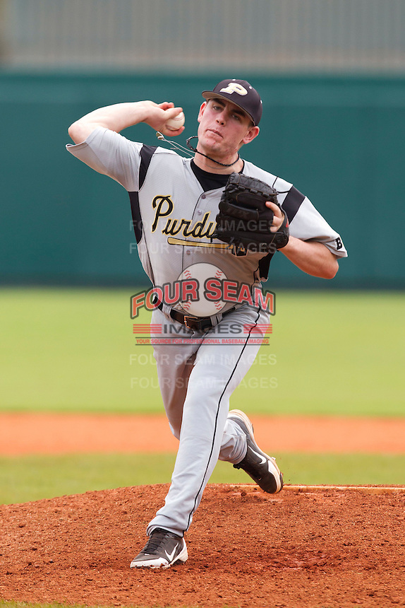 Purdue Boilermakers pitcher Nick Wittgren #28 during a game against the Notre Dame Fighting Irish at the Big Ten/Big East Challenge at Al Lang Stadium on February 19, 2012 in St. Petersburg, Florida.  (Mike Janes/Four Seam Images)