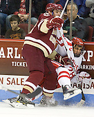 Chris Kreider (BC - 19), Sahir Gill (BU - 28) - The visiting Boston College Eagles defeated the Boston University Terriers 3-2 to sweep their Hockey East series on Friday, January 21, 2011, at Agganis Arena in Boston, Massachusetts.