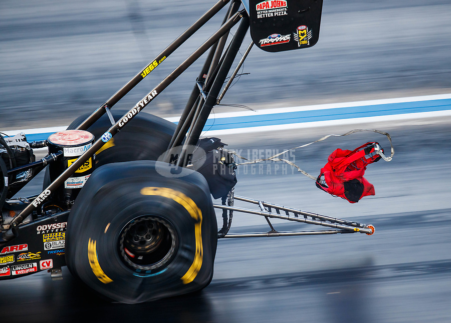 Jul 22, 2017; Morrison, CO, USA; Detailed view of the parachute and pilot chute on the dragster of NHRA top fuel driver Leah Pritchett deploying during qualifying for the Mile High Nationals at Bandimere Speedway. Mandatory Credit: Mark J. Rebilas-USA TODAY Sports