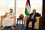 Palestinaian President Mahmoud Abbas meets with Qatari Minister of State for Foreign Affairs Sultan Al-Muraikhi in Addis Ababa, Ethiopia January 28, 2018. Photo by Egyptian President Office
