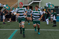 Players come out for the RFU Championship Cup match between Ealing Trailfinders and Ampthill RUFC at Castle Bar , West Ealing , England  on 28 September 2019. Photo by Alan  Stanford / PRiME Media Images