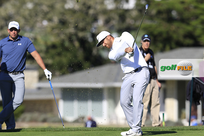 Kevin Chappell (USA) tees off the 5th tee at Pebble Beach Golf Links during Sunday's Final Round 4 of the 2017 AT&amp;T Pebble Beach Pro-Am held over 3 courses, Pebble Beach, Spyglass Hill and Monterey Penninsula Country Club, Monterey, California, USA. 12th February 2017.<br /> Picture: Eoin Clarke | Golffile<br /> <br /> <br /> All photos usage must carry mandatory copyright credit (&copy; Golffile | Eoin Clarke)