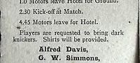 BNPS.co.uk (01202 558833)<br /> Pic: BTWAuctions/BNPS<br /> <br /> Main Picture: In the itinerary was the instruction for all players to bring 'dark knickers' to wear during the game.<br /> <br /> David Beckham was once famously lampooned for wearing his wife's underwear.<br /> <br /> But had he plied his trade 100 years before he wouldn't have been alone on the football pitch in wearing knickers, according to a fascinating document that has come to light.<br /> <br /> The four page itinerary was given to England footballers ahead of a match in 1912.