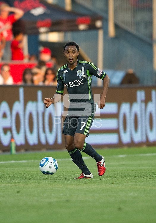 Seattle Sounders FC defender James Riley #7 in action during an MLS game between the Seattle Sounders FC and the Toronto FC at BMO Field in Toronto on June 18, 2011..The Seattle Sounders FC won 1-0.