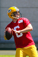 Green Bay Packers quarterback Joe Callahan (6) during an OTA on June 1, 2017 at Clark Hinkle Field in Green Bay, Wisconsin. (Brad Krause/Krause Sports Photography)