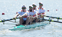 Brandenburg. GERMANY.<br /> GER M4-.  Bow. Johannes WEISSENFELD, Felix WIMBERGER, Maximilian PLANER and Maximilian KORGE, during their heat at the 2016 European Rowing Championships at the Regattastrecke Beetzsee<br /> <br /> Friday  06/05/2016<br /> <br /> [Mandatory Credit; Peter SPURRIER/Intersport-images]