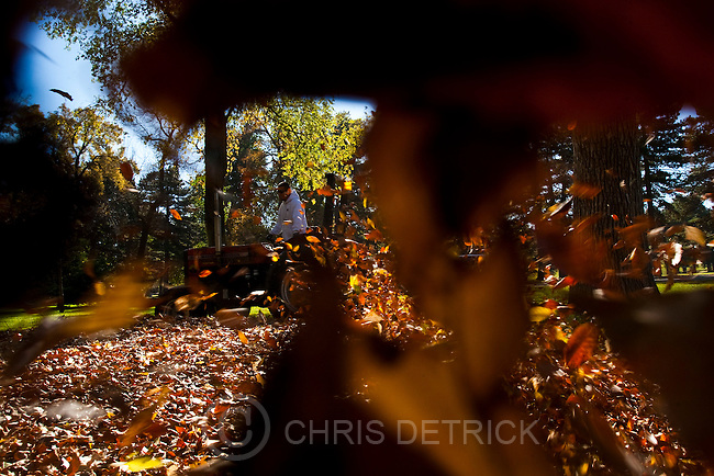 Chris Detrick  |  The Salt Lake Tribune .James Alarid blows leaves at Liberty Park Wednesday November 3, 2010.