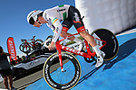 Irish road and time trial champion Ryan Mullen blasted around the flat Stage 3 time trial at the Vuelta a San Juan Tuesday to take home his first international victory and with it the first team victory for the 2018 season. 24th January 2018.<br /> Picture: Trek-Segafredo | Cyclefile<br /> <br /> <br /> All photos usage must carry mandatory copyright credit (&copy; Cyclefile | Trek-Segafredo)