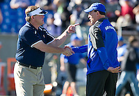 Brian Kelly and Air Force Falcons head coach Troy Calhoun shake hands before the game.