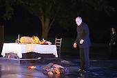 "11 July 2014, Muelheim/Ruhr, Germany. L-R: Simone Thoma as Antigone; Fabio Menendez as Haimon and Volker Roos as Creon/Kreon. Roberto Ciulli's ""Theater an der Ruhr"" perform ""Antigone"" as part of their open-air season ""Weisse Naechte"" (White Nights) in Raffelbergpark, Muelheim an der Ruhr, Germany."