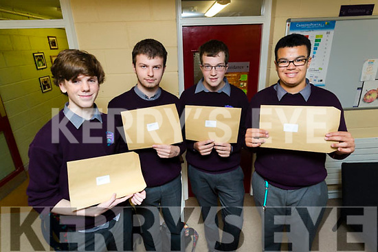 Students attending Coláiste Gleann Lí, Tralee, pictured with their Junior Certificate results on Wednesday morning last were l-r: Ethan Byrne, Donald Walsh, Luke Stack and Alusin Jah.